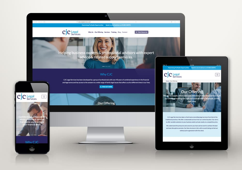 CJC Legal Service new website image - desktop, ipad and mobile